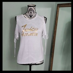 Juicy Couture Gold Logo Cold Shoulder Top